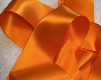 Tangerine Satin Ribbon/Orange Satin Ribbon/Tangerine Wedding Dress Sash/Orange Bridal Sash/Tangerine Ribbon Sash/Country Bridal Sash