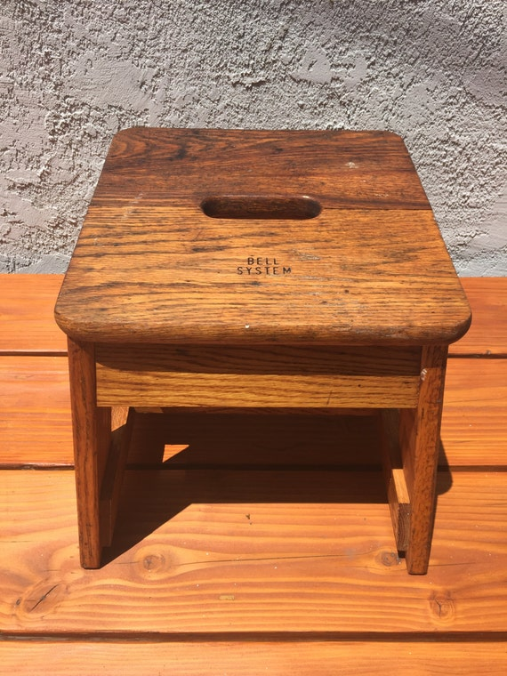 Rare Vintage Bell System Wood Step Stool Oak Step Stool