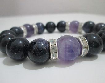 Sandstone blue aventurine and Amethyst, bracelet gemstone
