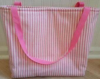 Pink & Cream Ticking Tote Bag