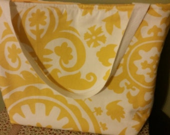 Yellow & White Tote Bag