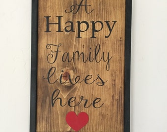 Happy Family Wood Sign ***FREE SHIPPING***
