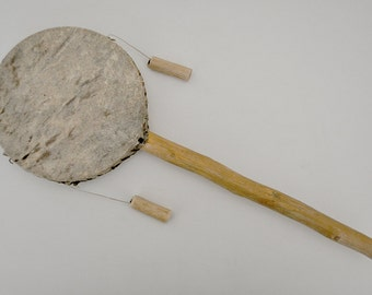 Vintage Musical Instrument - Vintage Chinese Rattle Drum / Hand Percussion / Toy
