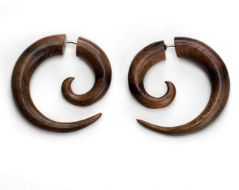 Small Sono Wood Spirals Fake Gauges Earrings