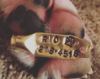 Personalized Stamped Bullet Dog Tag by Sass & Brass