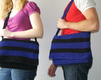 pair of blue and black striped messenger bags