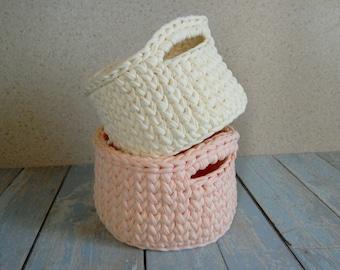 Crochet basket, Cotton basket,Handmade crochet basket, Home Decor, Storage basket, Crocheted basket