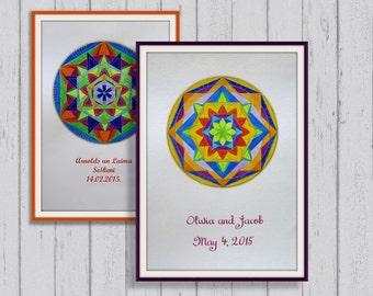 Personalized Wedding Mandala Original watercolor painting A3