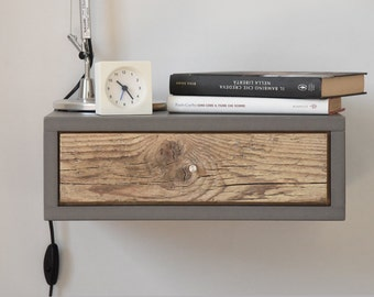 Charming Nightstand / Floating Nightstand With Drawer In Old Wood Scandinavian  Design / Bedside Table / Floating