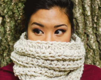 The Lennox // Chunky knit cowl, tube scarf // in WHEAT