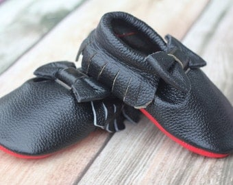 Black with red sole Leather Baby and Toddler Moccasin