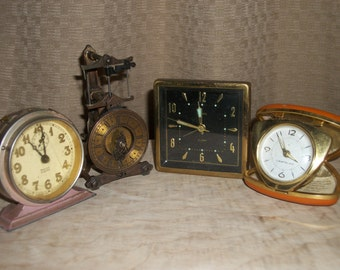 Vintage Wind Up Clocks-Lot of 4-PRICE REDUCTION