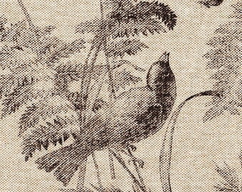 Tab Top Curtain Panels Bird Toile Fossil Brown