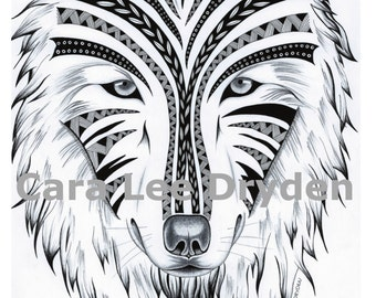 STRIPED WOLF. Print of my original hand drawing. Illustration Art Print.