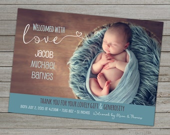 PHOTO BIRTH ANNOUNCEMENT - Thank You - Baby Boy Birth Announcement - Baby Girl Birth Announcement - Custom Birth Announcement Cards