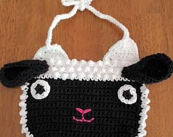 Crocheted Black Lamb Bib