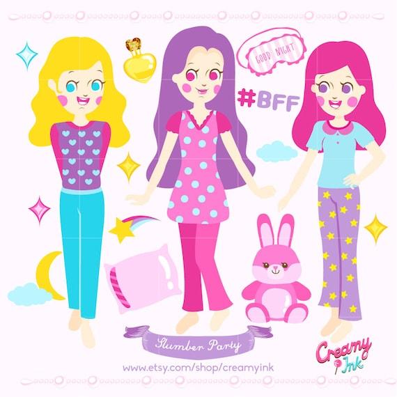 slumber party digital vector clip art sleepover clipart design rh catchmyparty com slumber party clip art free Pajama Party Clip Art