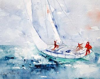 Original sea watercolor, ship watercolor, ship painting, Watercolour, Watercolor, Aquarelle marine,peinture originale, ocean, bateau