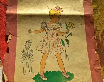"""40's Fabulous french vintage pattern - """"Patron Marie Claire"""" 600277 Dress for a 6 years old girl"""