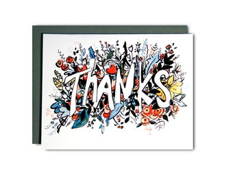 Thank You - Illustrated blank card, Thanks, 4x5