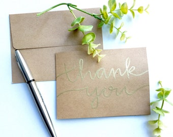 Thank you cards   gold embossed