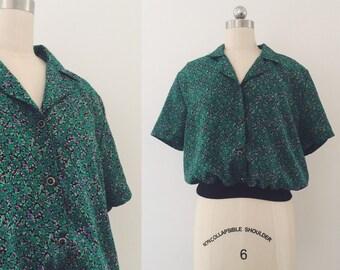 Vintage 80's Floral Blouse- Green
