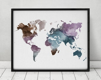 Travel map, Large World Map, watercolor world map, Wall art, world map poster, Map painting, watercolor print, Home decor, ArtPrintsVicky.