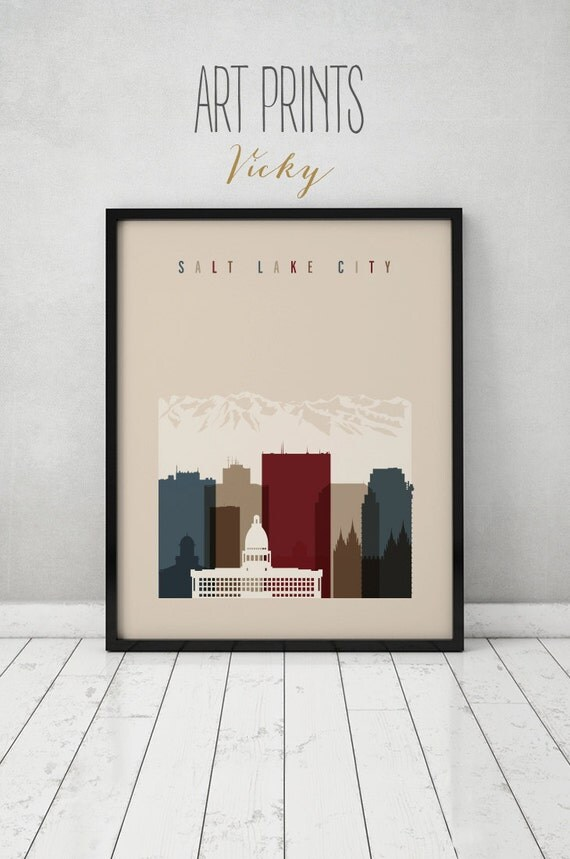 Salt Lake City Art Print Wall Art Utah Cityscape Salt Lake