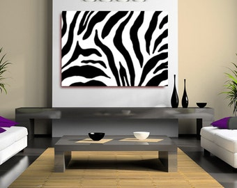 Abstract Zebra Print Black and White (FRAMED>UK ONLY) Canvas Wall Art Rolled Canvas Poster, or Box Framed.Contemporary and Modern!