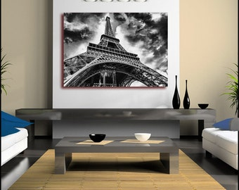 Paris Eiffel Tower Night Black and White (FRAMED>UK ONLY) Canvas Wall Art Large single Rolled Canvas Poster or Box Framed. Modern!