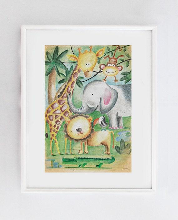 Elephant Classroom Decor ~ Classroom decor elephant kids print giraffe illustration