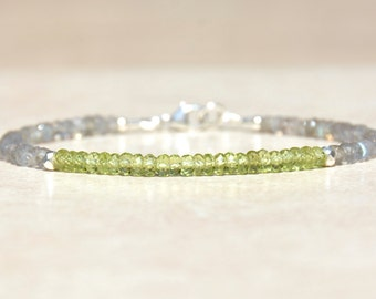 Peridot Gemstone Bracelet, Labradorite Jewelry, August Birthstone Bracelet, Beaded Friendship Bracelet, Gift for Her, Stacking Bracelet