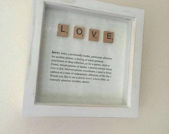 Love scrabble tile frame