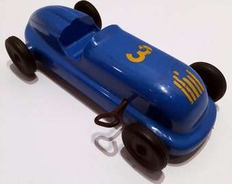 Vintage (1950's) Wind-Up Racecar Blue #3 by Saunders Tool Die Co.