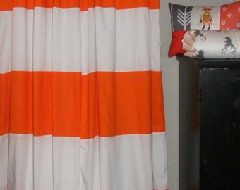 Horizontal Striped Curtain Panels Orange and White Pair Lined