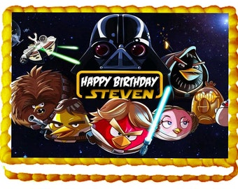 """Angry Birds """"Star Wars"""" 1/4 Sheet Edible Photo Birthday Cake Topper. ~ Personalized!"""