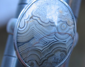 White Lace Agate Cabochon in Sterling Silver