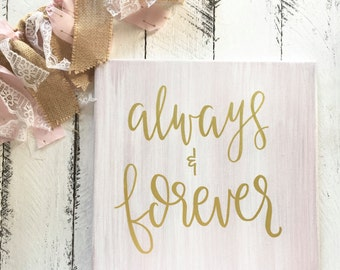 Always And Forever - Canvas   Painting   Nursery Art   Nursery Decor   Pink   Hand Painted   Painting   Little Girls Room   Shower Gift