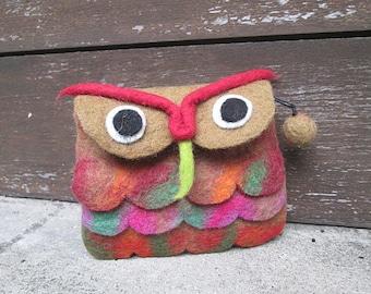 OWL Brown Felt Coin Purse Nepal Purse Wool Felt Bag Woollen Purse