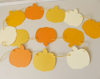 Autumn pumpkin garland decor for a harvest themed birthday, baby shower, Thanksgiving, photo prop