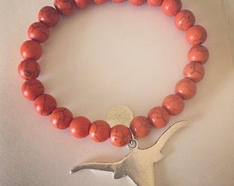 UT Longhorn Beaded Bracelet