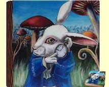 Rabbit Alice in Wonderland Hand Painted Wooden Box Clock Disney Lewis Carroll Hare Gift Jewelry Box Wizard World Keepsake Box Art JaN:)Art