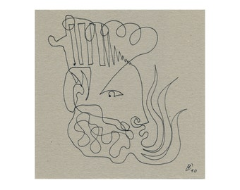 Abstract picture 15/15 drawing original, King portrait