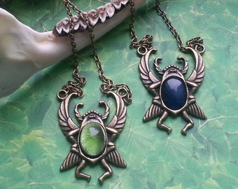 Scarab necklace bronze variable stone