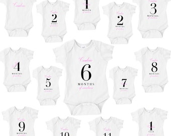 Keepsake Personalized Baby Onesies - SET OF 14 to document your baby girl's age and size