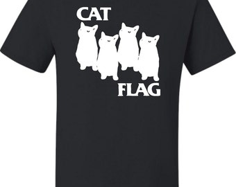 Adult Cat Flag Funny Black Flag T-Shirt