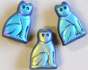 20mm Seated Cat Bead - Czech Glass Cat Beads - Amber, Gray or Black AB Matte - Qty 5