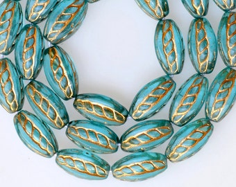 Oval Bead with Etched Gold Design - Czech Glass Beads - 15mm x 9mm - Various Colors - Qty 15