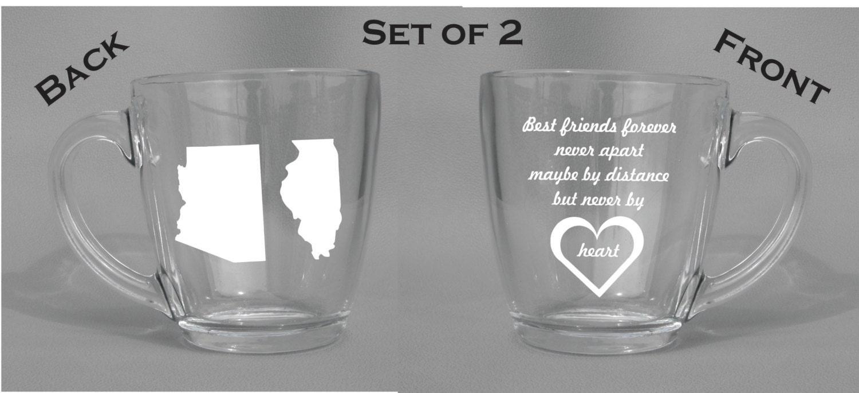 Best Dishwasher For Wine Glasses Deep Engraved Dishwasher Safe Best Friend Distance State Mugs Set