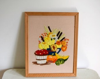 Vintage framed retro yellow floral and squash crewel embroidered piece / vintage crewelwork flowers wall hanging / fiber art